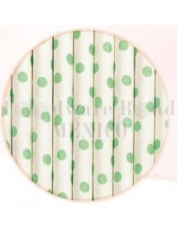 Popote Papel Decorado Blanco Dot Verde 12Pz