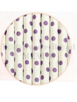 Popote Papel Decorado Blanco Dot Morado12Pz