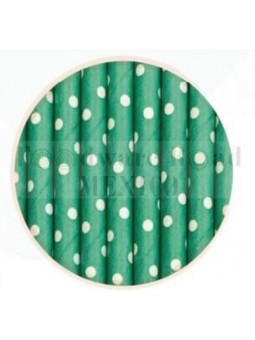 Popote Papel Decorado Verde Dot Blanco 12Pz